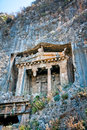 Lycian tombs in fethiye ancient carved rock by lycians turkey Royalty Free Stock Photo