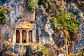 Lycian tombs ruins of carved in rock in fethiyeturkey Stock Image