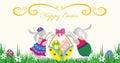 Lycklig Easter.Rabbit med en korg av ägg Arkivfoto