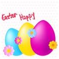Lyckliga easter färgrika ägg och blommor på prickig bakgrund Royaltyfri Foto