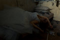 Lying bride in bed creepy creepy devastated room Royalty Free Stock Photos
