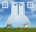 Lying couple on grass and dream door way collage Royalty Free Stock Image