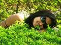 Lying on Meadow Stock Image