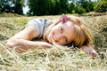 Lying straw woman Стоковые Фото