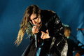 Lykke Li (singer and songwriter from Sweden) performs at Sonar Festival Royalty Free Stock Photo