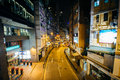 Lyndhurst Terrance at night, in Hong Kong, Hong Kong. Royalty Free Stock Photo