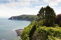 Lynmouth foreland point viewed hillside over looking bay north devon england Royalty Free Stock Photos