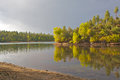 Lynx风景湖的日落 免版税库存照片