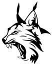 Lynx head wild mascot black and white animal vector design Stock Photos