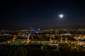 Lyon city panorama by night a day of full moon, great ! Royalty Free Stock Photo