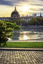 Lyon city at sunset with Rhone river Royalty Free Stock Photo