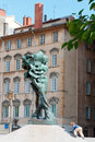 Lyon, France - MAY 19: Sculpture on Louis Pradel square. Royalty Free Stock Photo