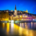 Lyon by nigt with lights Royalty Free Stock Photo