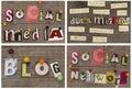 Márketing social de los títulos media network blog digital Imagen de archivo