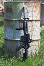 M a carbine ar without magazine and old can Stock Photography