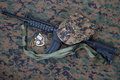 M carbine and blank dog tags on us marines camouflage uniform Stock Image