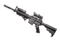 M a carbine without magazine ar with acog sniper sight an peq and afg tactical grip studio shot Stock Images