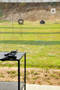 M a carbine rifle on table in the yard shooting Stock Photos