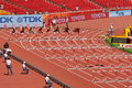 The m hurdles preliminary in the iaaf world athletics championship in beijin runners started for on aug beijing Stock Photos