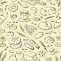 1903.m30.i130.n014.F.c06.250142509 Hand drawn bakery pattern. Vintage bread and cakes doodle sketch design template