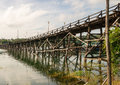 M long wooden mon bridge songkhla buri western part thailand close to burmese birder Stock Photos