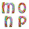 M,o,n,p, Colorful wave font illustration. Royalty Free Stock Photos