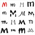 M. Vector letters. Hand drawn letters. Letters drawn using spray can, inkpen, highlighters and others materials. Variety materials Royalty Free Stock Photo