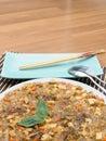 Ma bo tofu spicy full flavour tofu in white dish Stock Image