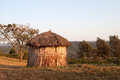 Maasai hut morning sun manual focus Royalty Free Stock Photo