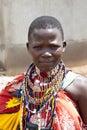 Maasai woman bisil kenya december unidentified women in full tribal garb in the village of bisil in southern kenya Royalty Free Stock Images