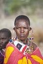 Maasai woman bisil kenya december unidentified women in full tribal garb in the village of bisil in southern kenya Royalty Free Stock Photos