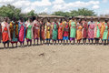 Maasai women sing the welcome song for tourists who visit Masai Royalty Free Stock Photo