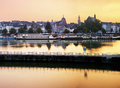 Maastricht by evening panorama of city light Stock Image