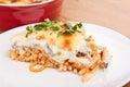 Mac and cheese bake dish with fresh herb Stock Photo