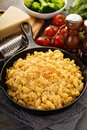 Mac and cheese in a cast iron pan Royalty Free Stock Photo