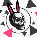 Macabre skull with a hoop with pink ears, different triangles