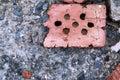 Macadam brick close up texture with stones Royalty Free Stock Photo
