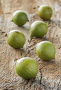 Macadamia in husk group of on wood background Royalty Free Stock Photos