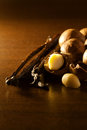 Macadamia nut and vanilla bean food ingredients Stock Images