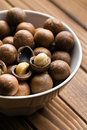Macadamia nuts in ceramic bowl Royalty Free Stock Photography