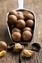 Macadamia nuts on scoop wooden table Stock Photography