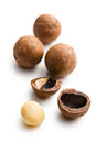 Macadamia nuts on white background Royalty Free Stock Image