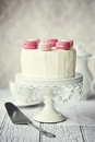 Macaron layer cake decorated with macarons Royalty Free Stock Image