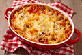 Macaroni casserole with ground beef easy lean Stock Images