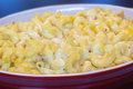 Macaroni and Cheese in Red Dish Closeup Royalty Free Stock Photo