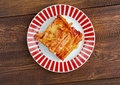 Macaroni with cheese and tomato Stock Images
