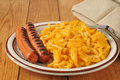Macaroni with hot dogs grilled and cheese Stock Image