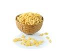 Macaroni pasta close up on a white background Royalty Free Stock Photo