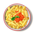 Macaroni plate with tomato sauce and basil viewed from top drop shadow at white background airbrush illustration Stock Photo