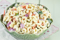 Macaroni salad with mayonnaise and vegetables Stock Photo